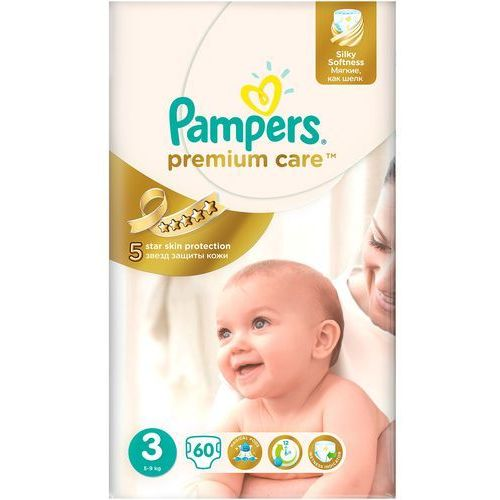 Pampers Pieluchy jednorazowe premium care 3 midi 5-9 kg (60 sztuk)