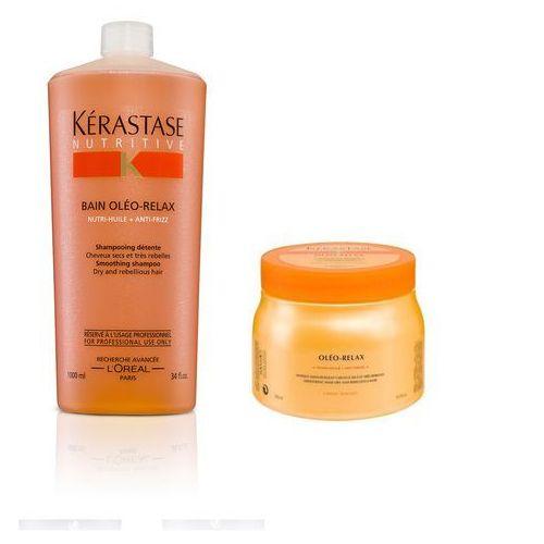 Kerastase Oleo-Relax Zestaw wygładzający do włosów grubych, nieposłusznych | kąpiel 1000 ml + maska 500 ml