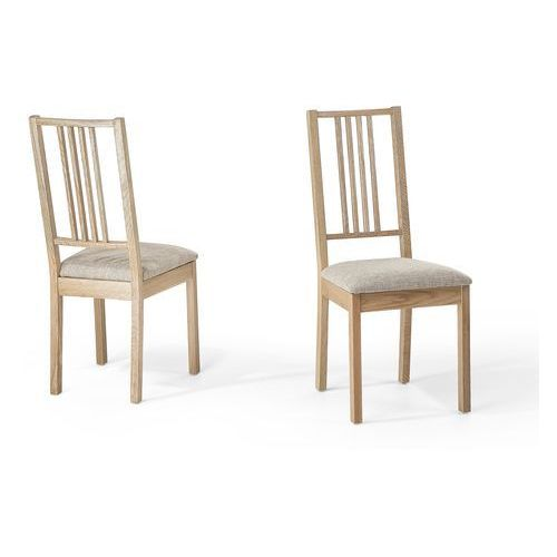 Drewniane Krzesło Tapicerowane Beżowe Krzesło Do Jadalni Kuchni Chelsea Beliani