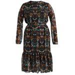 Rozkloszowana sukienka rozszerzana ze wzorem, długość midi (3/4), kolor czarny