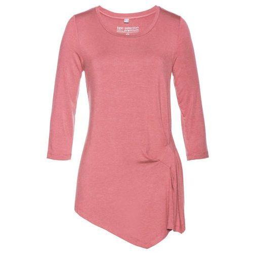 Asymetryczny shirt z jedwabiem bonprix różowobrązowy, kolor różowy