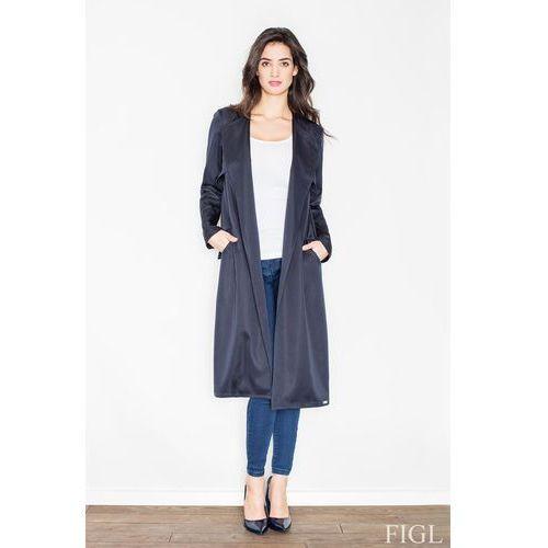 Granatowy płaszcz typu trencz bez zapięcia z wiązanym paskiem marki Figl