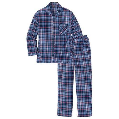Piżama flanelowa bonprix niebieski w kratę, kolor czerwony