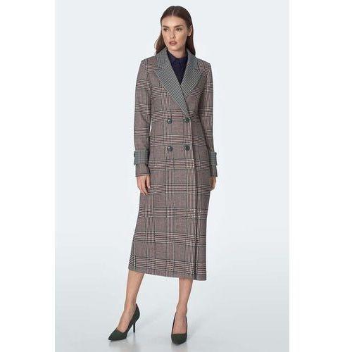 Dwurzędowy długi płaszcz w kratę - pepitka, kolor czarny