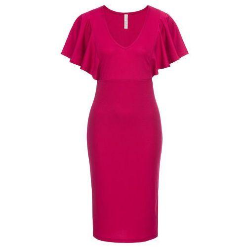 Sukienka z rękawami w optyce falban czerwony, Bonprix, 32-50