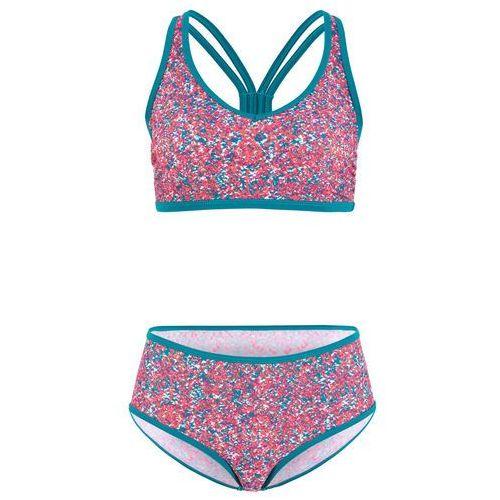 754ab6f058cdc5 Zobacz w sklepie Bikini z biustonoszem bustier (2 części) bonprix  różowo-niebieskozielony wzorzysty, poliamid