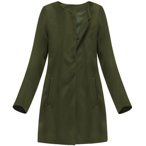 Italy moda Minimalistyczny płaszcz khaki (172art) - khaki