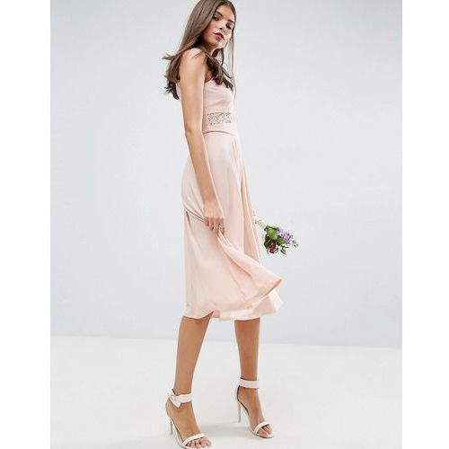 Asos design bridesmaid lace top pleated midi dress - pink