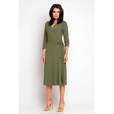 5a27f88b2b Zakładana Kopertowo Elegancka Oliwkowa Sukienka Midi