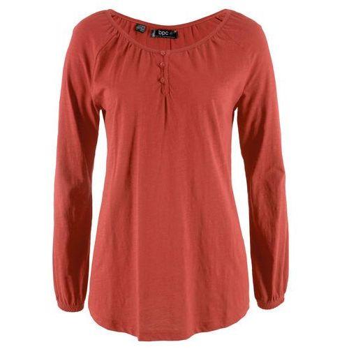 Shirt bawełniany z przędzy mieszankowej, długi rękaw czerwony karminowy marki Bonprix