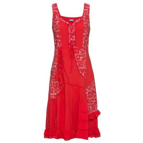 Sukienka dzianinowa kremowo-czarny, Bonprix, 32-50