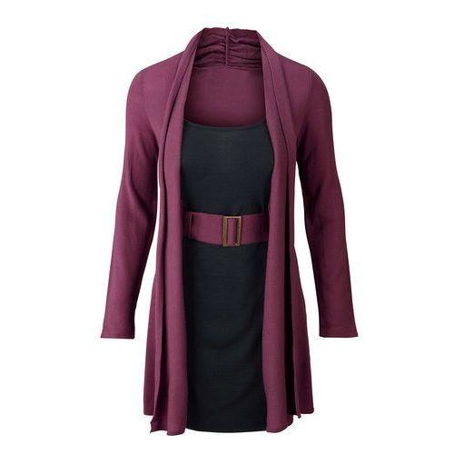 Bonprix Sukienka dzianinowa z paskiem jeżynowo-czarny
