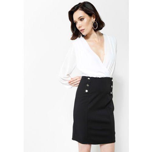 Beżowo-Czarna Sukienka Seductive Back, kolor beżowy