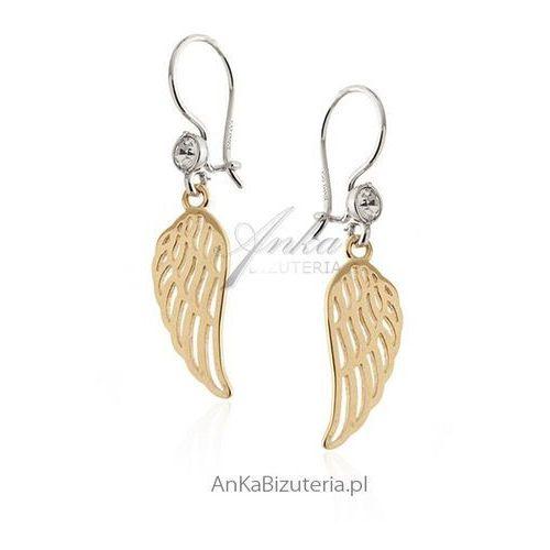 Kolczyki srebrne pozłacane z cyrkonią - Skrzydła Anioła, kolor szary
