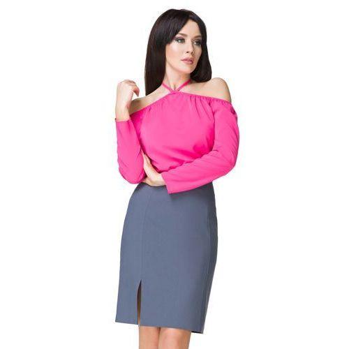 b2744ddd4c Niebieska spódnica ołówkowa przed kolano z wysokim stanem marki Tessita -  Foto Niebieska spódnica ołówkowa przed