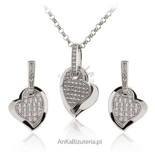 Piękny komplet biżuterii srebrnej z mikro cyrkoniami, kolor szary