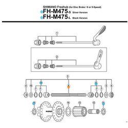 Shimano Oś piasty tył fhm570/m525/m510 m290/m475/rm40 drążona(146mm, non-series