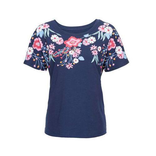 Shirt z długim rękawem czarny z nadrukiem, Bonprix, 32-50