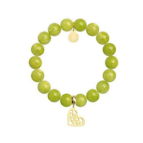Bransoletka z zielonych jadeitów (mashan) 10 mm XL