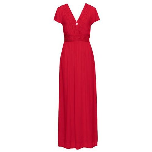 Długa sukienka z koronką bonprix truskawkowy