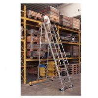 Składana aluminiowa drabina platformowa - 8 stopni, 2,1 m