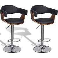 Vidaxl zestaw krzeseł barowych z oparciem ze skóry syntetycznej, 2 sztuki