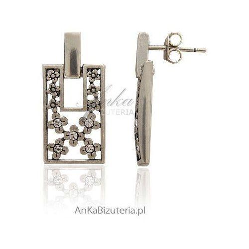Anka biżuteria Kolczyki srebrne - w kwiatki z cyrkoniami - na wkrętki