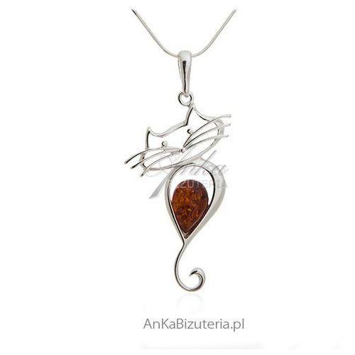 2d0c73199b68 Anka biżuteria Biżuteria srebrna - zawieszka srebrna z bursztynem kot
