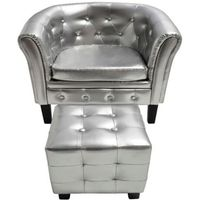Vidaxl fotel chesterfield srebrny z podnóżkiem (8718475829676)