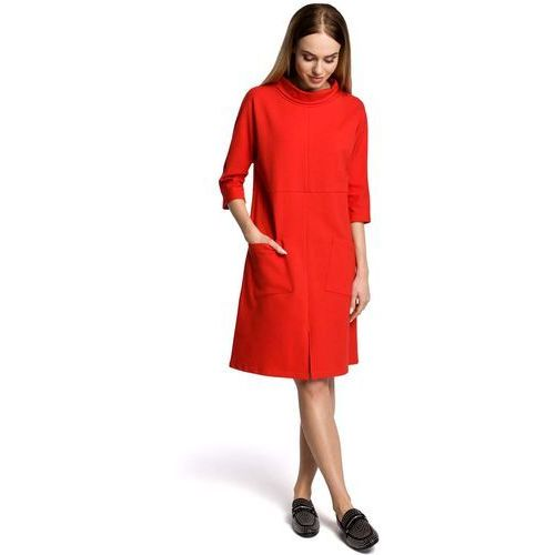 d3aed0a0b1 Zobacz ofertę Czerwona Sukienka Trapezowa przed Kolano w Sportowym Stylu z  Kieszeniami