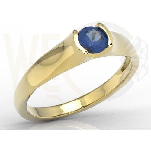 Węc  twój jubiler Pierścionek zaręczynowy z żółtego złota z szafirem bp 2636z