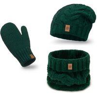 Ciepły komplet PaMaMi, czapka, komin i rękawiczki - Butelkowa zieleń