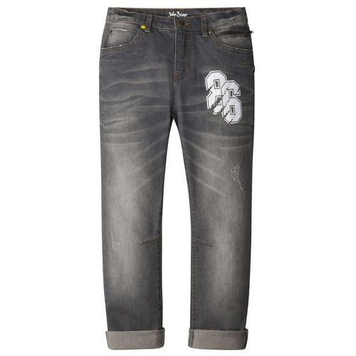 Dżinsy ze stretchem Regular Fit Tapered bonprix szary denim