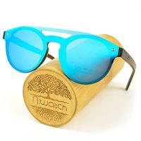 Drewniane okulary przeciwsłoneczne Niwatch Volans Blue Mirror