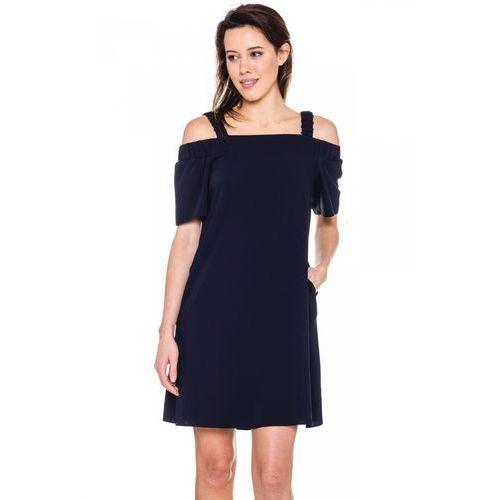 349c8434a3 Granatowa sukienka na ramiączkach - De Facto