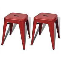 Vidaxl czerwone małe metalowe stołki składane jeden na drugi, 2 szt (8718475909514)