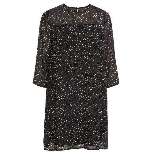 22659200ca Sukienka szyfonowa czarno-biały w kropki