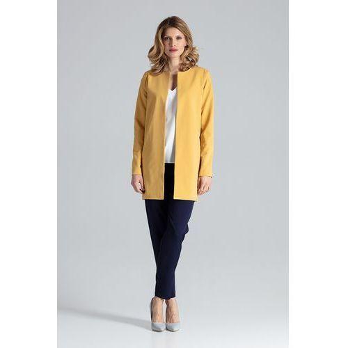 Żółty pudełkowy kobiecy płaszcz bez zapięcia marki Figl