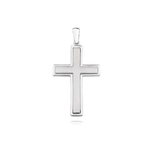 Elegancki duży rodowany srebrny piaskowany satynowany krzyżyk krzyż srebro 925 KS0207C, kolor szary