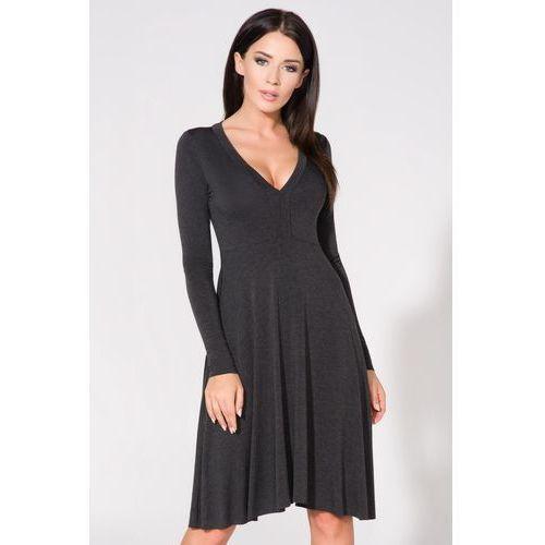 650902c7ab Rozkloszowana sukienka do kolan z długim rękawem ciemnoszara T146 ...