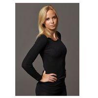 Koszulka damska z wełny merynosów (100%) - długi rękaw - kremowa i czarna - DILLING