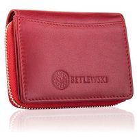 Czerwony portfel damski na zamek betlewski skórzany