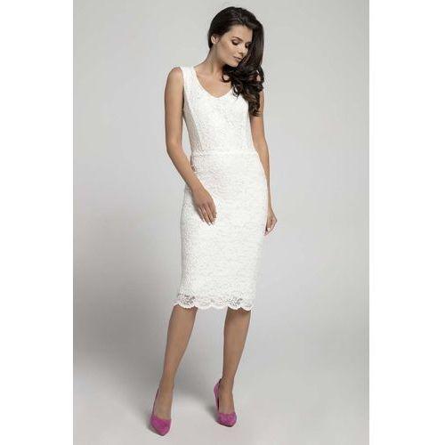 52cba443d7 Ecru dopasowana sukienka koronkowa bez rękawów (Nommo) - sklep ...