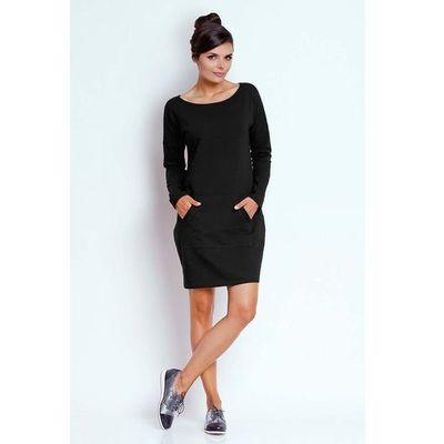 488ee0109f Czarna prosta dresowa sukienka z kieszenią kangurką marki Nommo MOLLY