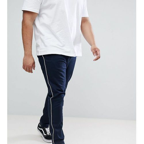 Design plus skinny chinos in navy with white piping - navy, Asos