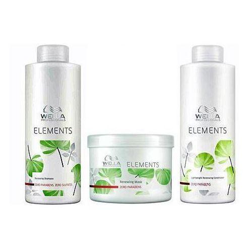 Wella Elements - zestaw odżywczy do każdego rodzaju włosów: Szampon+Odżywka+Maska 2x1000+500ml