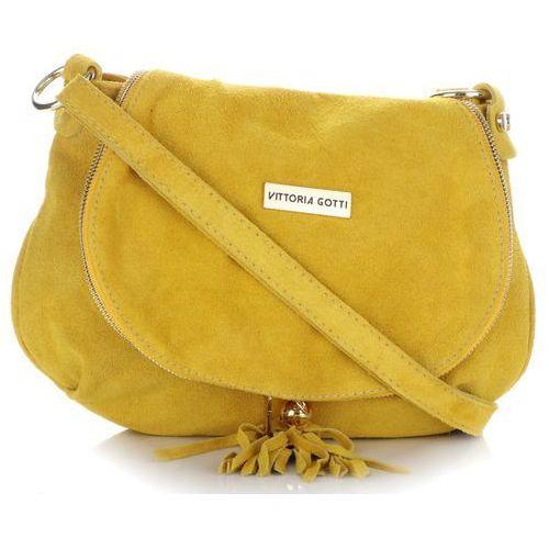 00379ee7f20d6 uniwersalna włoska torebka skórzana listonoszka wykonana z całości z zamszu  naturanego żółta (kolory) marki