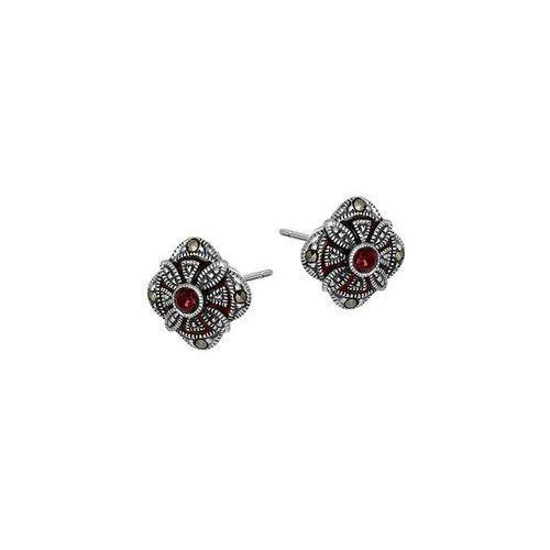Kolczyki srebrne z markazytami i czerwoną cyrkonią