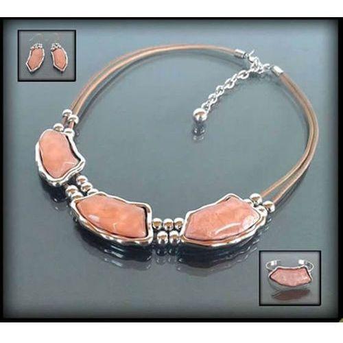 Oryginalny naszyjnik z różowymi kamieniami - różowy marki Polska