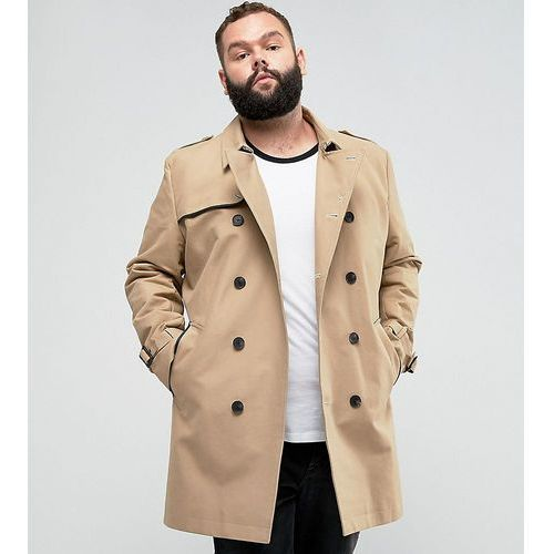 ASOS PLUS Shower Resistant Double Breasted Trench In Stone - Stone